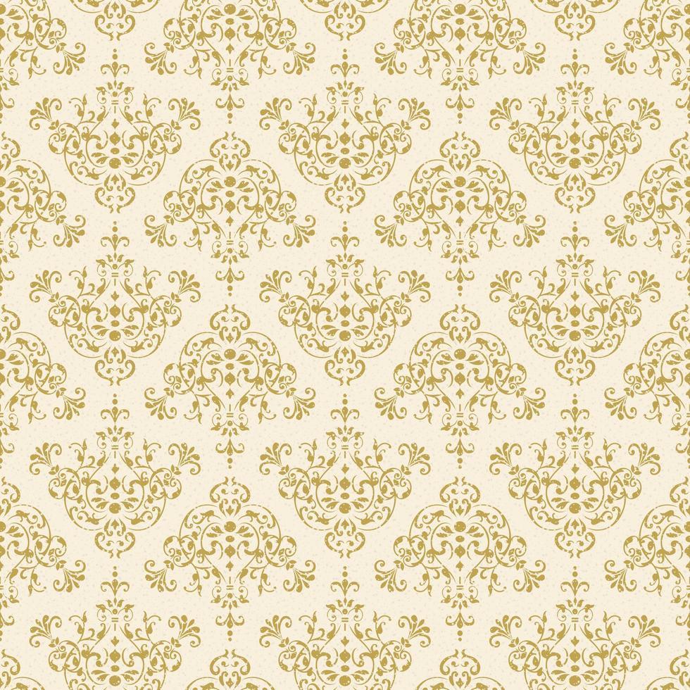 intricato motivo damascato decorativo oro senza soluzione di continuità vettore