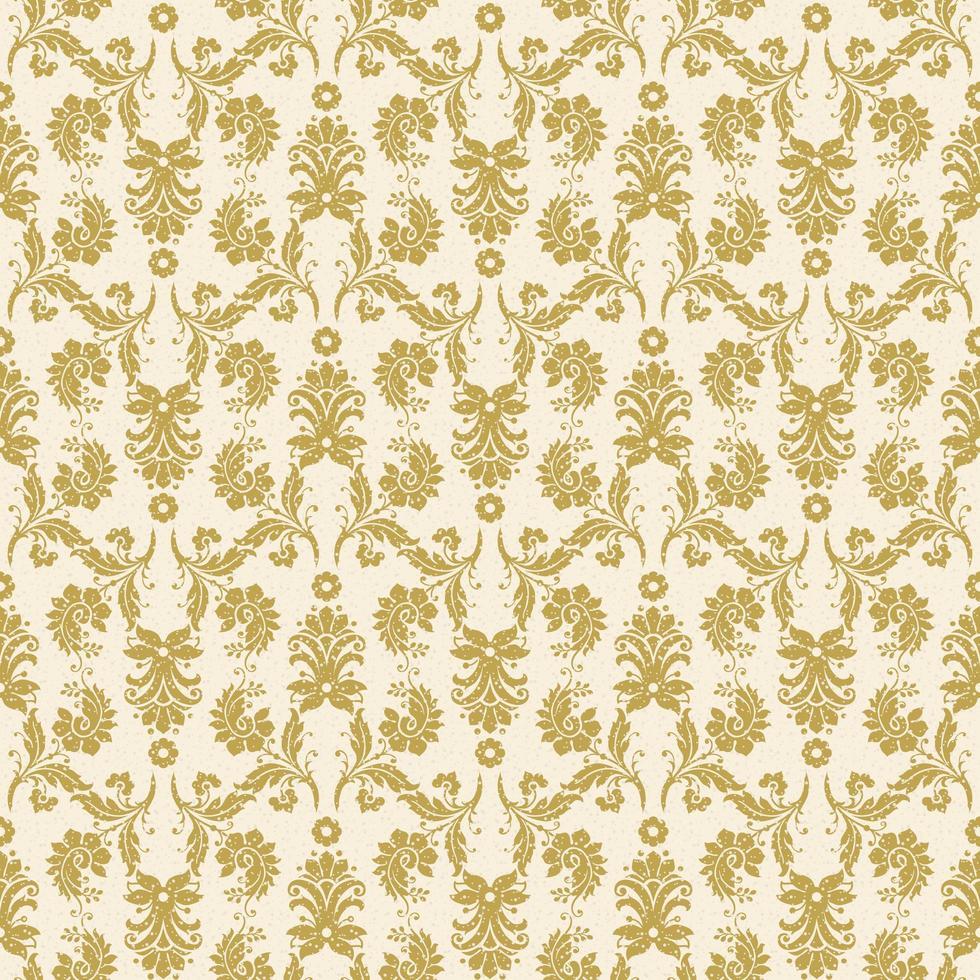 motif damassé jaune or sans couture vecteur