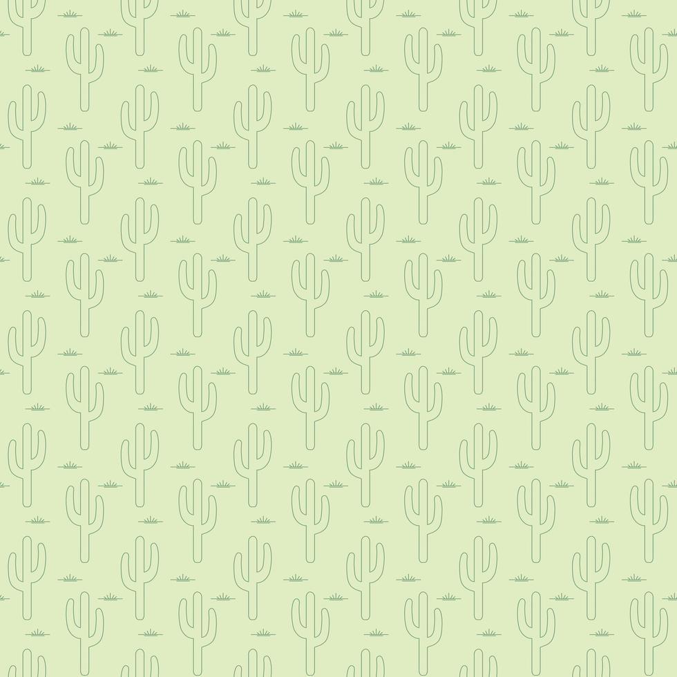 contour modèle sans couture de cactus saguaro vert vecteur