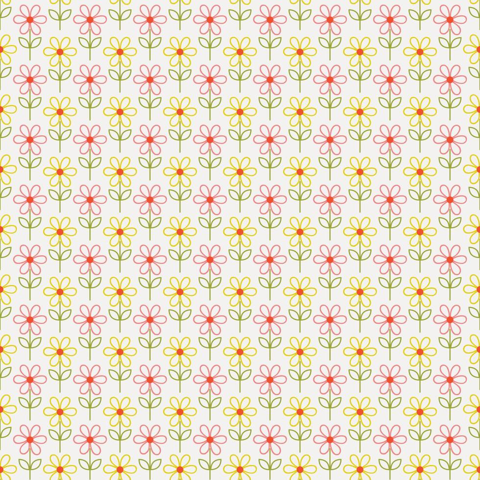contorno semplice fiori seamless pattern vettore