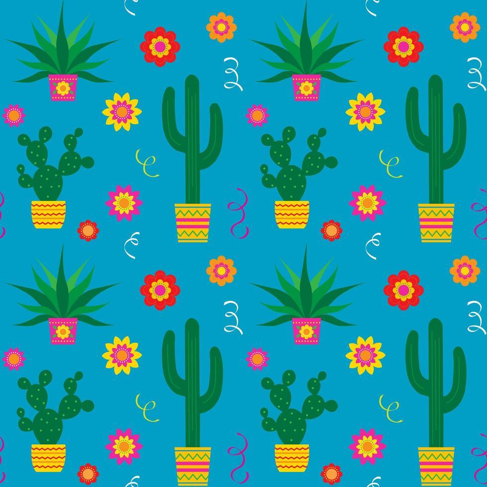 cinco de mayo modèle sans couture de cactus et fleurs vecteur