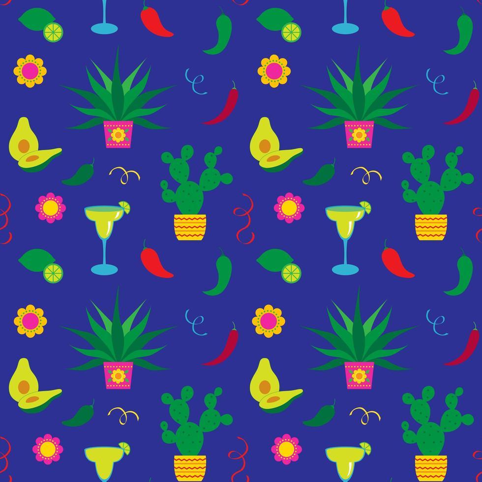 cinco de mayo cactus y margaritas de patrones sin fisuras vector