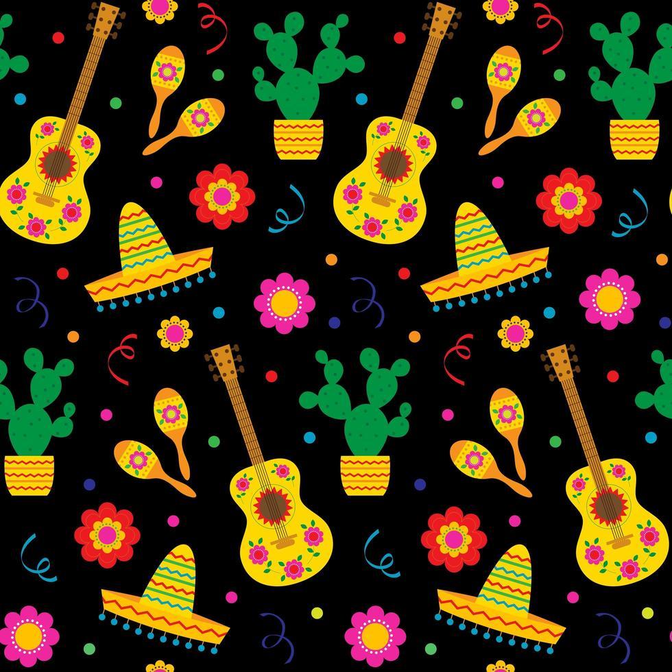 chitarre cinco de mayo e sombreros seamless pattern vettore
