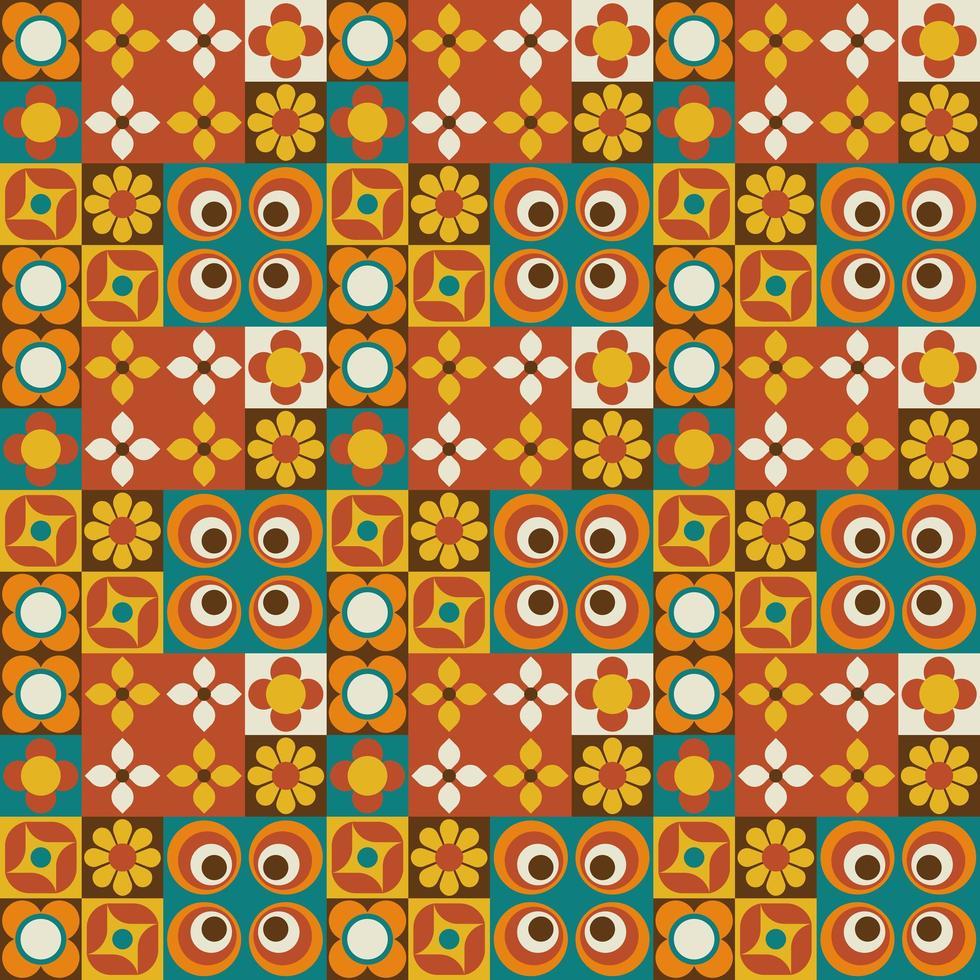 azulejo floral retro geométrico de patrones sin fisuras vector