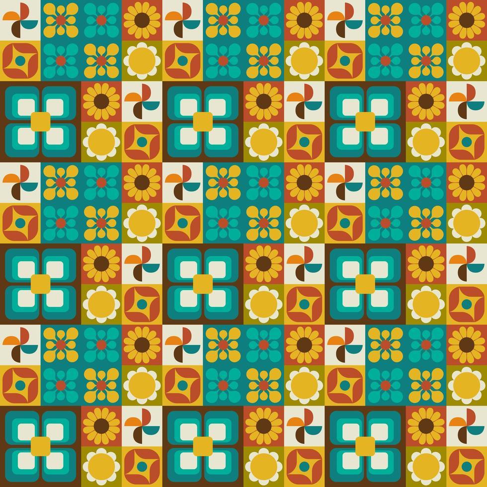 retro bloemen geometrisch naadloos patroon vector