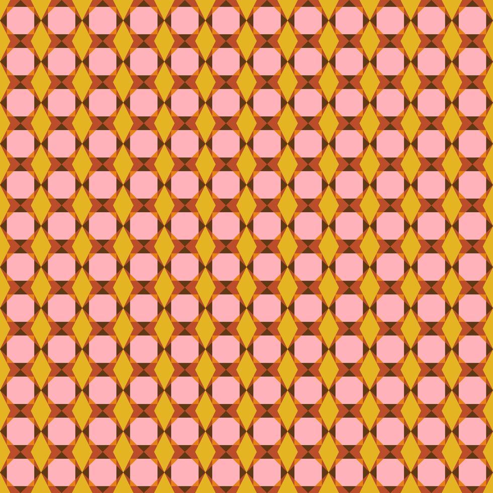 modèle sans couture géométrique rétro rose et orange vecteur