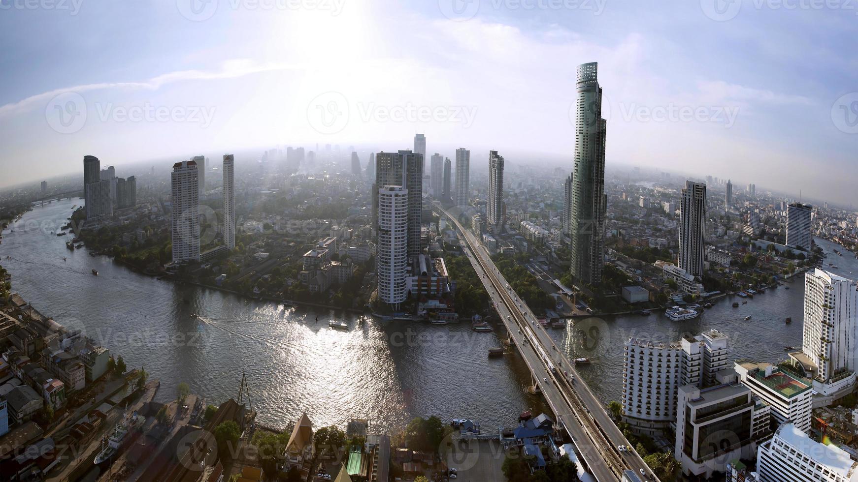 Bangkok skyline with city before sunset photo