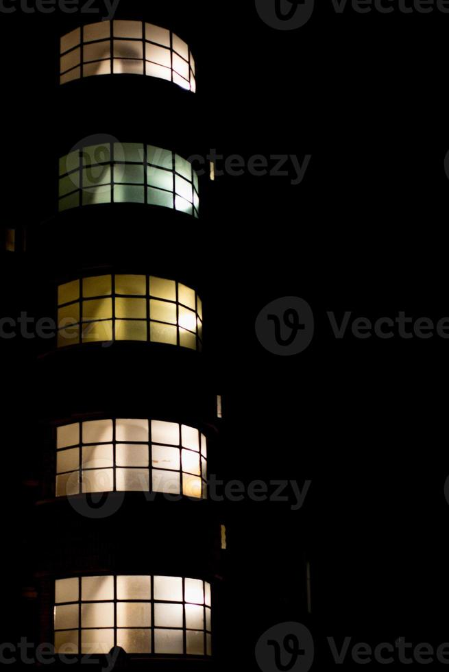 Building staircase at night photo
