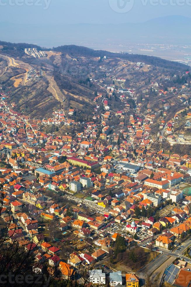 Aerial view of the Old Town, Brasov, Romania photo