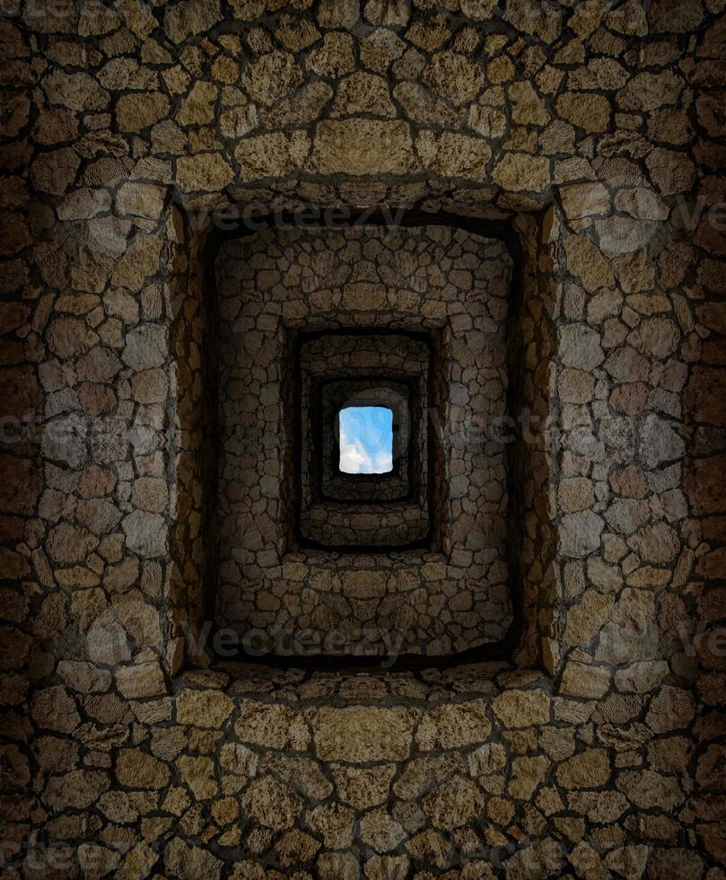 Dungeon with stone walls and light window high above photo