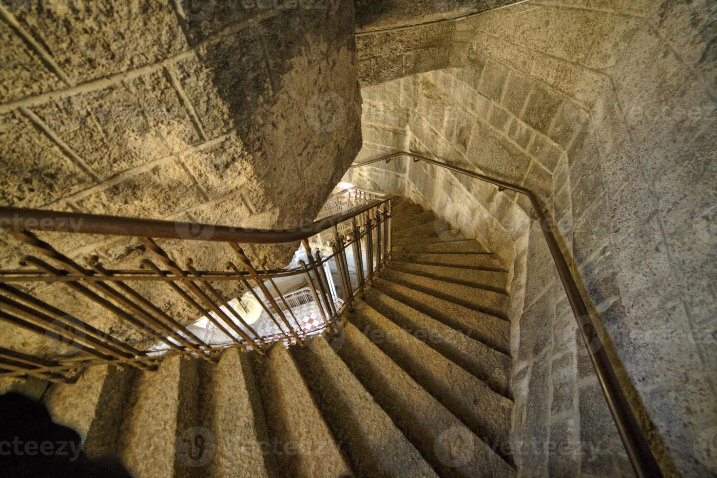 Curved staircase in tower photo