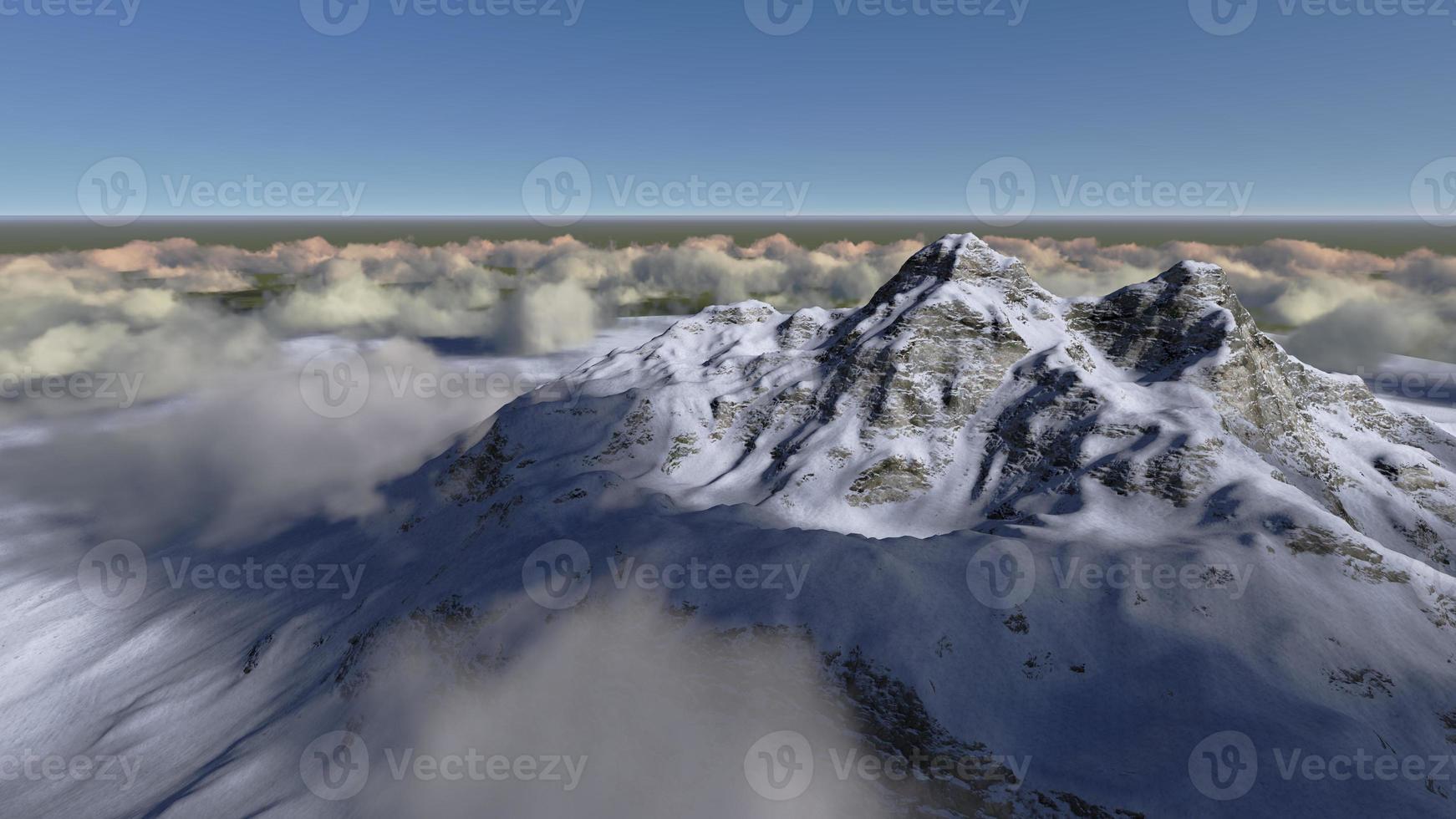 montaña sobre las nubes foto