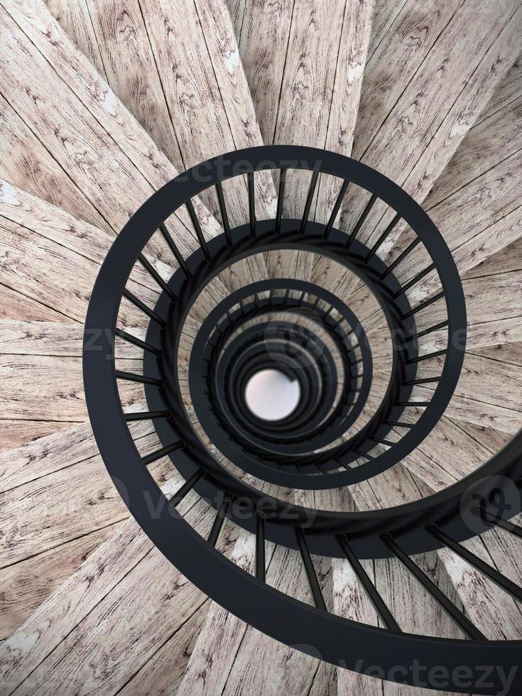 escaleras de caracol con barandilla negra foto