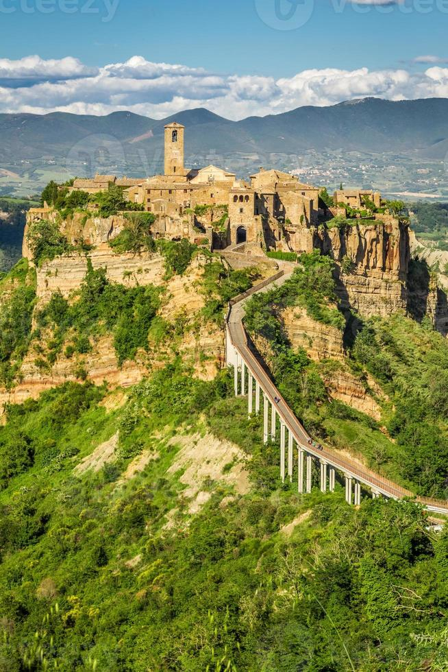 Ancient city on hill in Tuscany photo