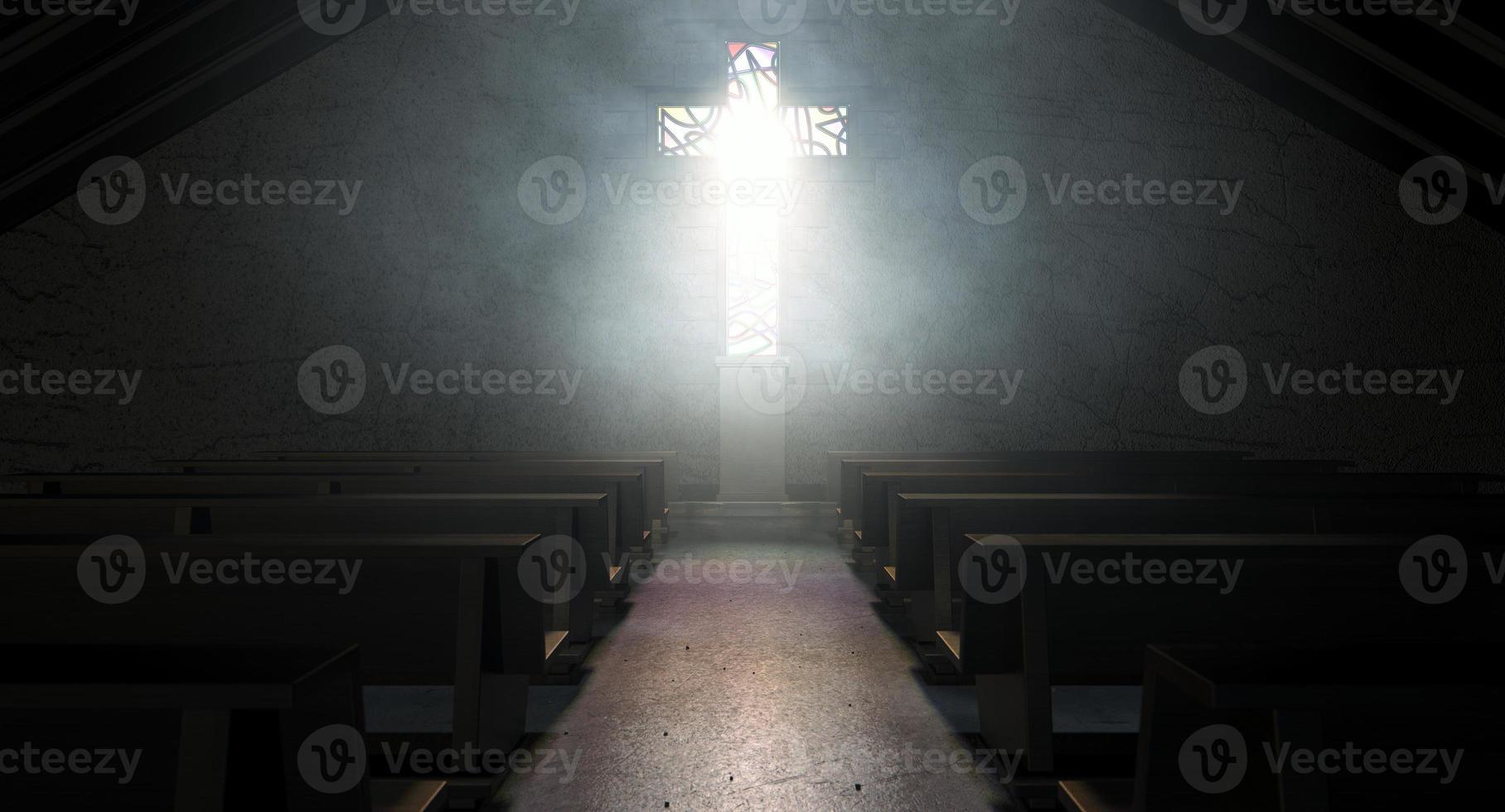 vidriera iglesia crucifijo foto