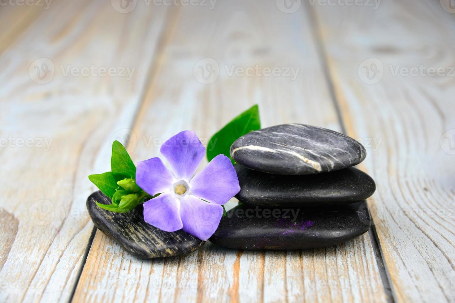 piedras zen negras con flor morada en madera vieja anudada foto