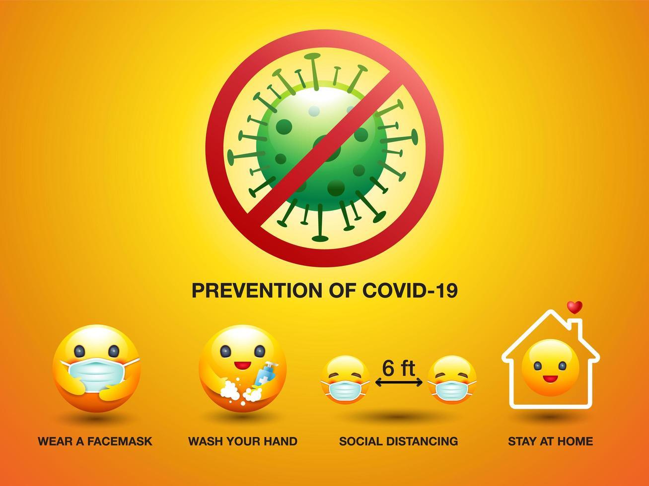 prevención de covid-19 smiley set vector
