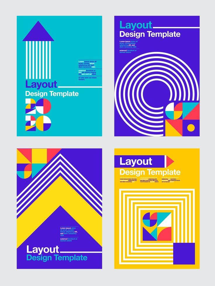 Colorful geometric 2020 business design templates vector