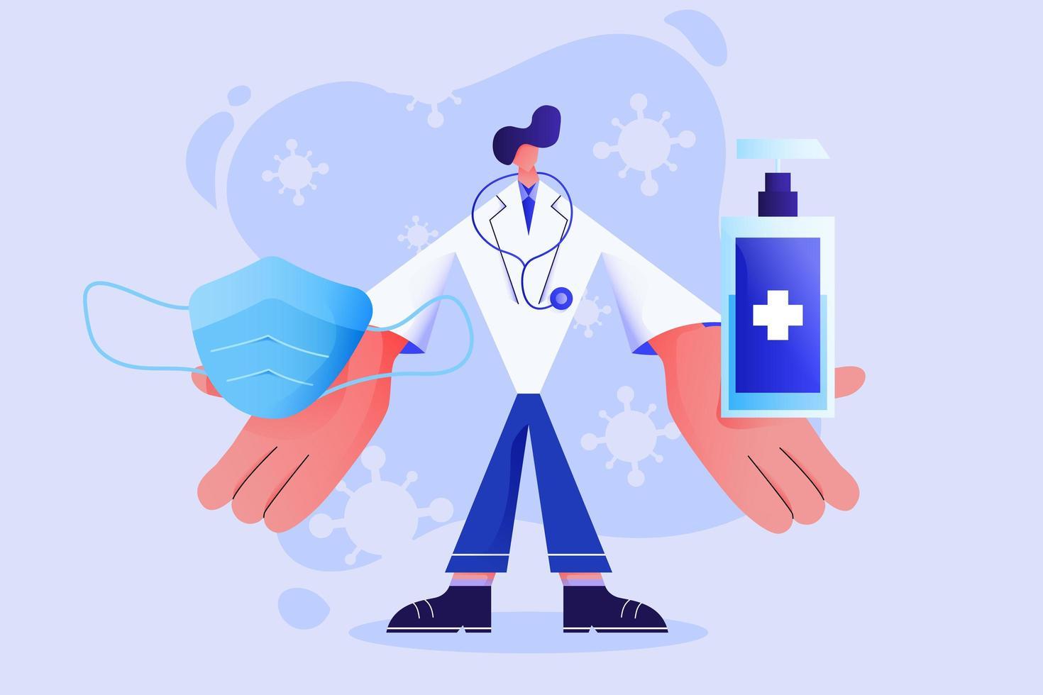 médico mostrando uma máscara cirúrgica e gel de álcool vetor