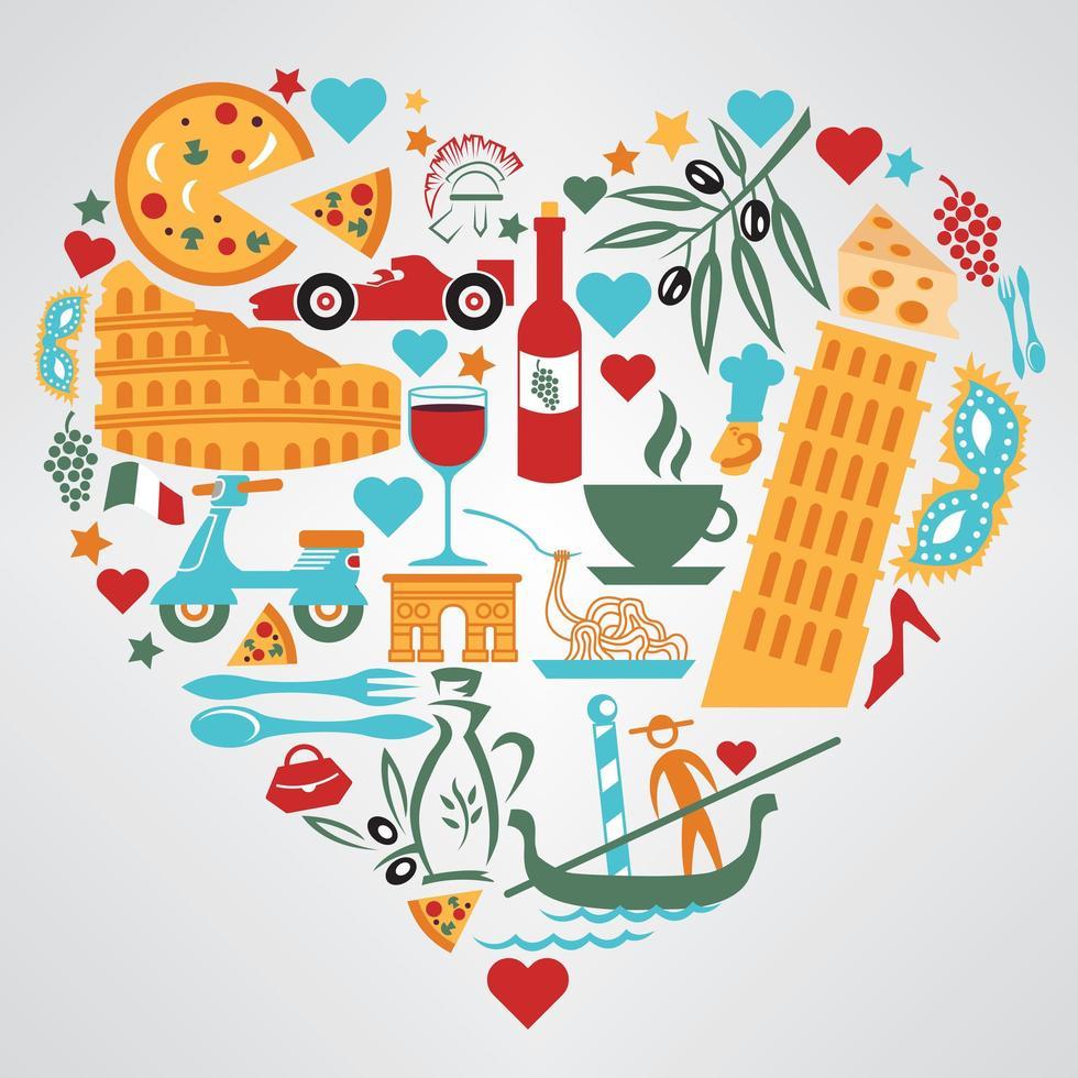 elementi della cultura dell'Italia a forma di cuore vettore