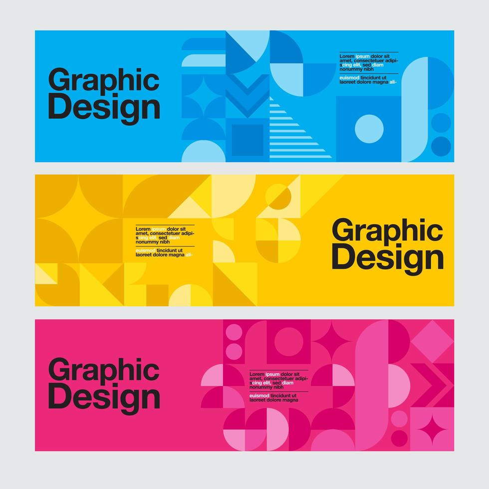 Blue, Yellow and Pink Geometric Graphic Design Banners vector