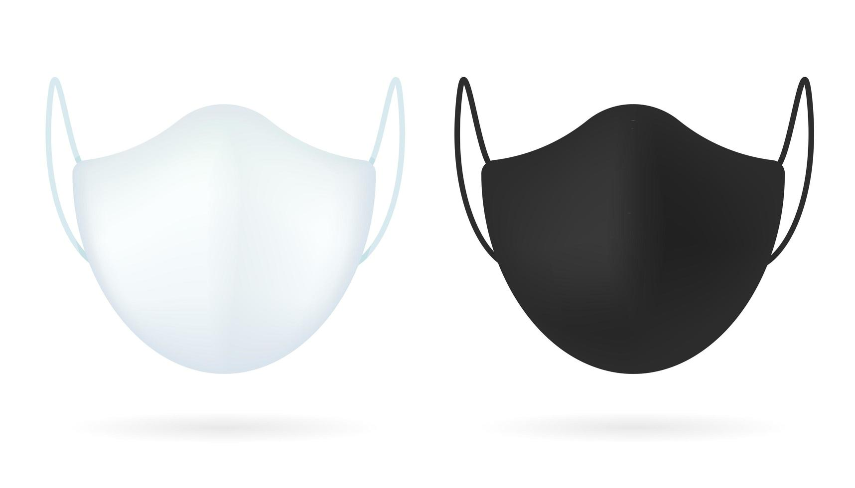 masque médical réaliste blanc, noir vecteur