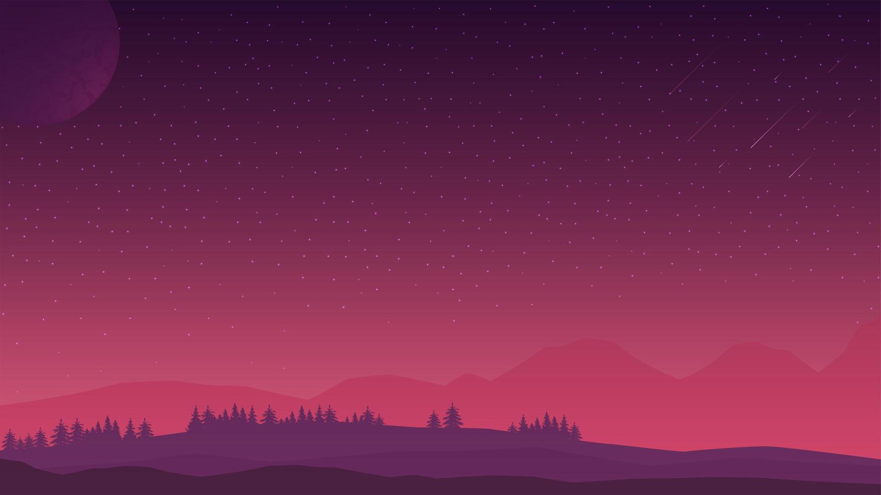 paisaje rosado de la tarde con cielo estrellado, colinas en el horizonte y bosque de coníferas. vector