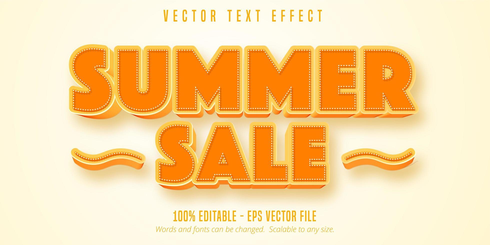 Sommerverkauf orange und gestrichelter Gliederungstext-Effekt vektor