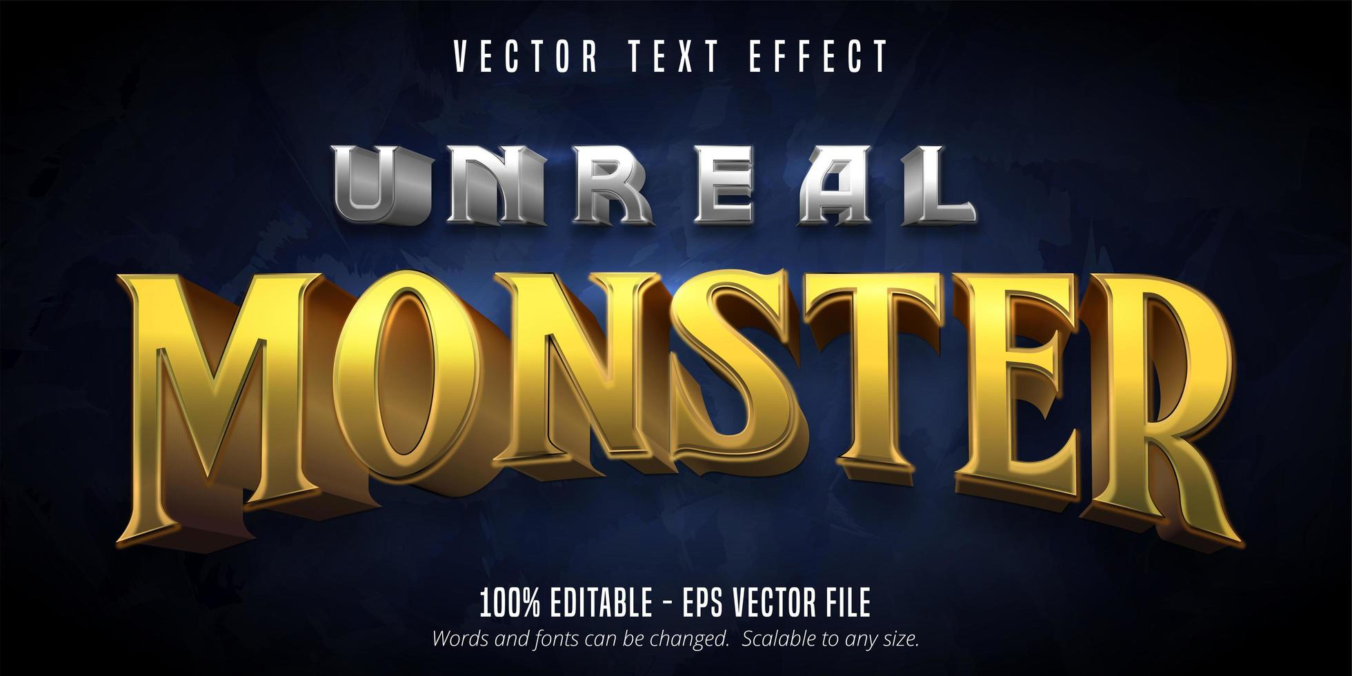 Unreal monster metallic game style text effect vector