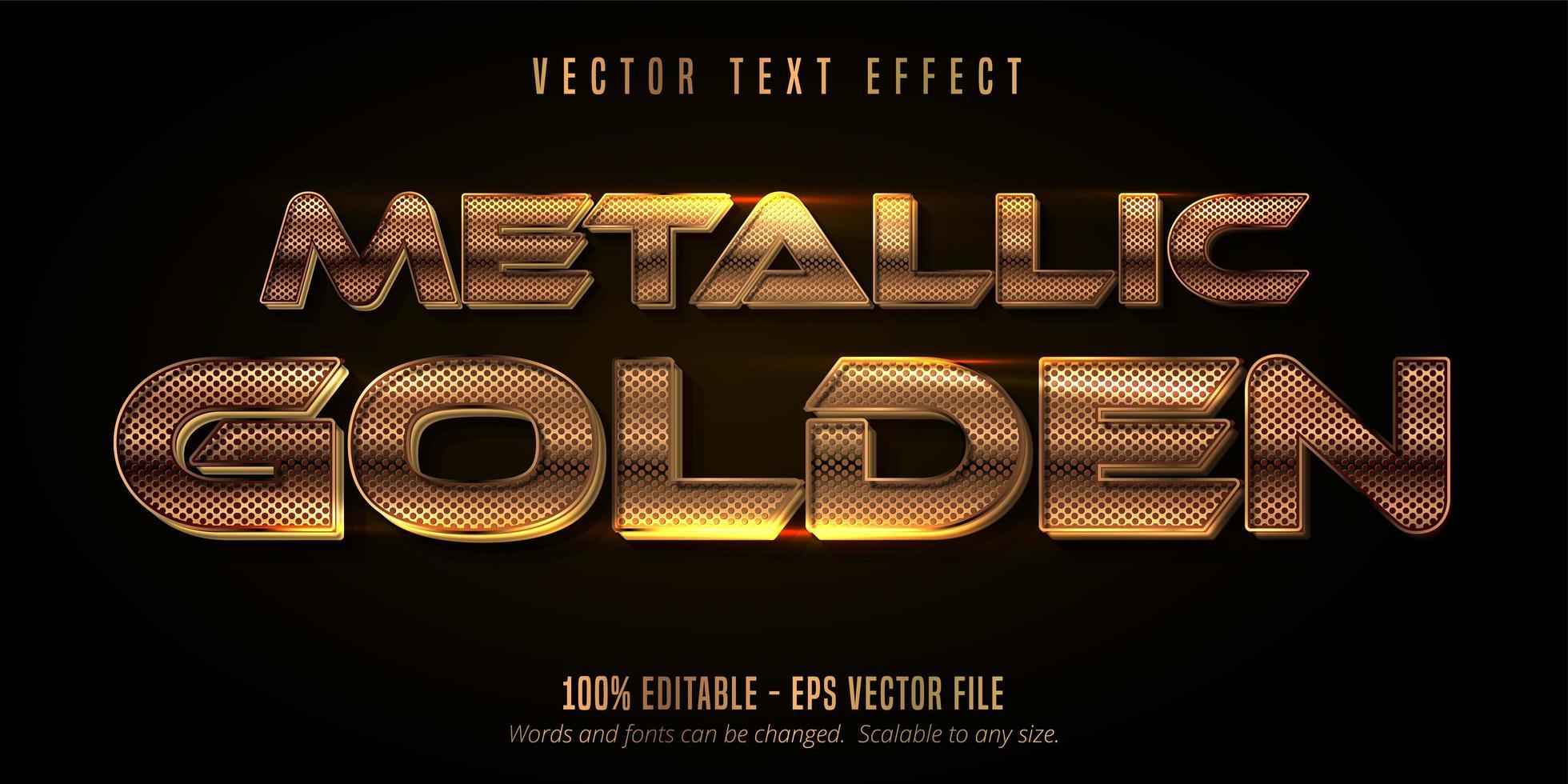 effetto testo griglia metallica dorata vettore