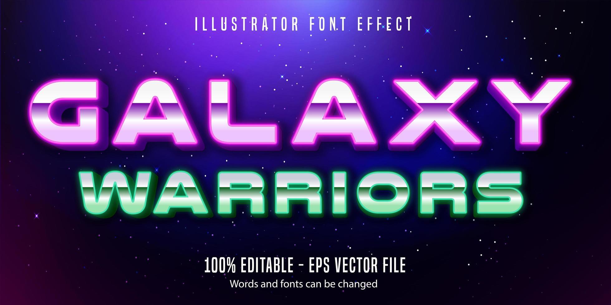 galaxy warriors effetto testo cromato stile neon vettore