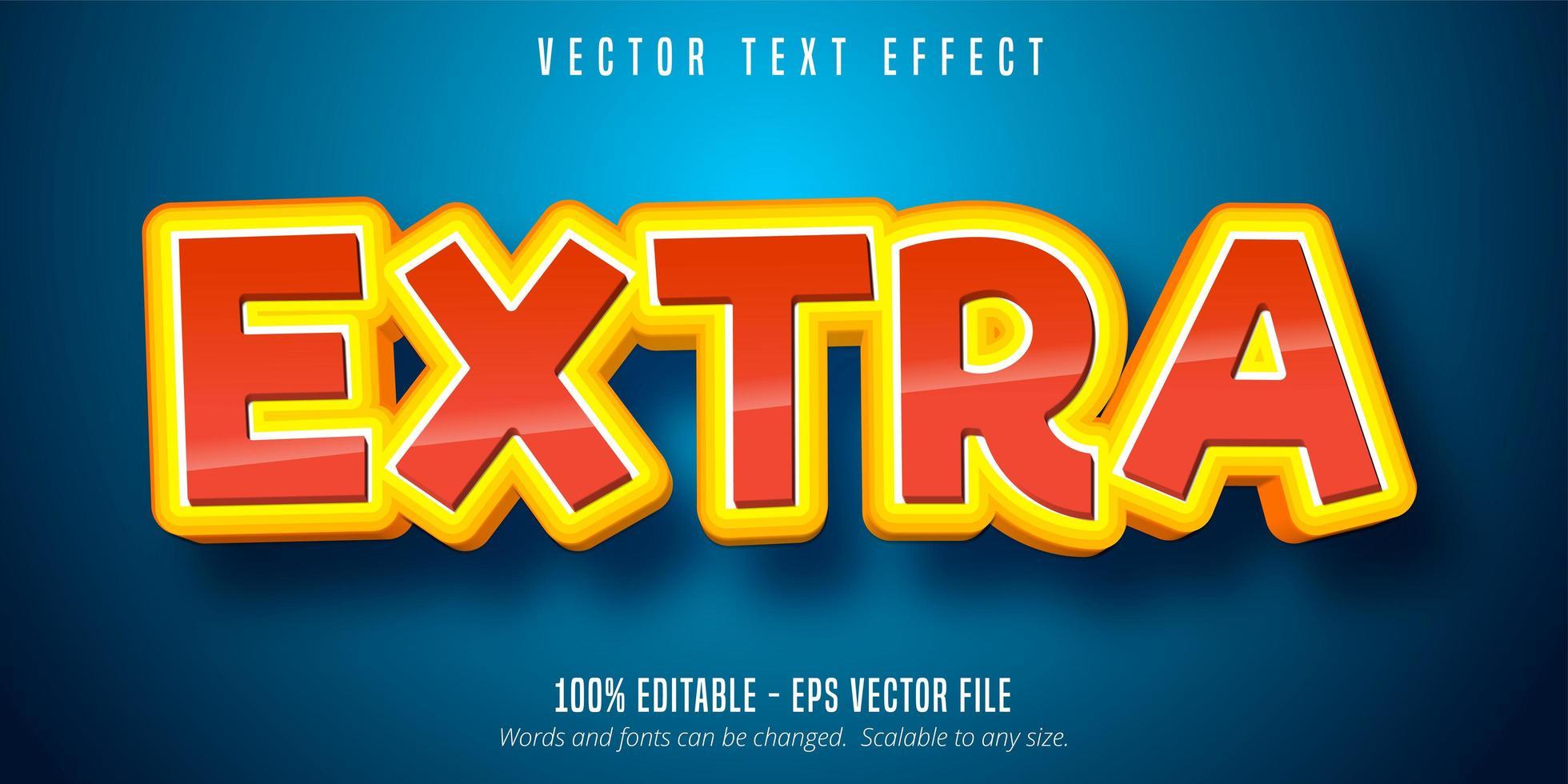 efecto de texto de contorno apilado extra brillante vector