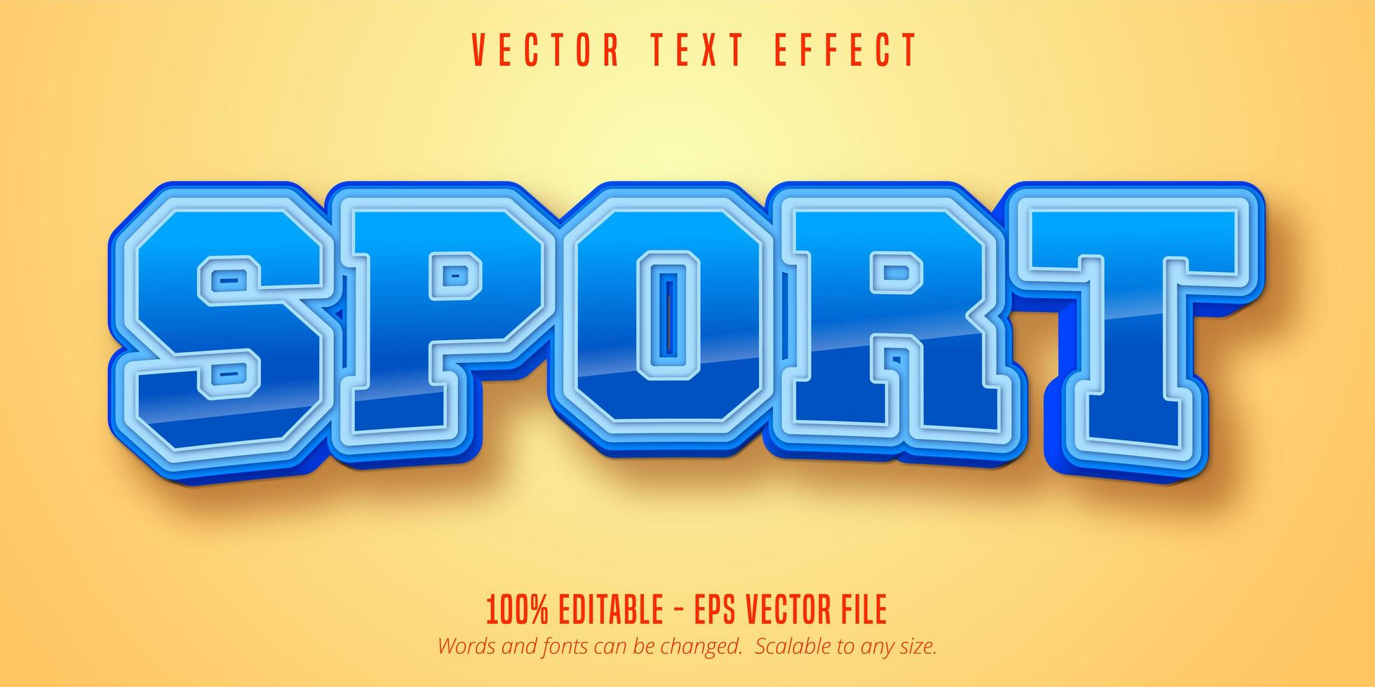Sport style glossy text effect vector