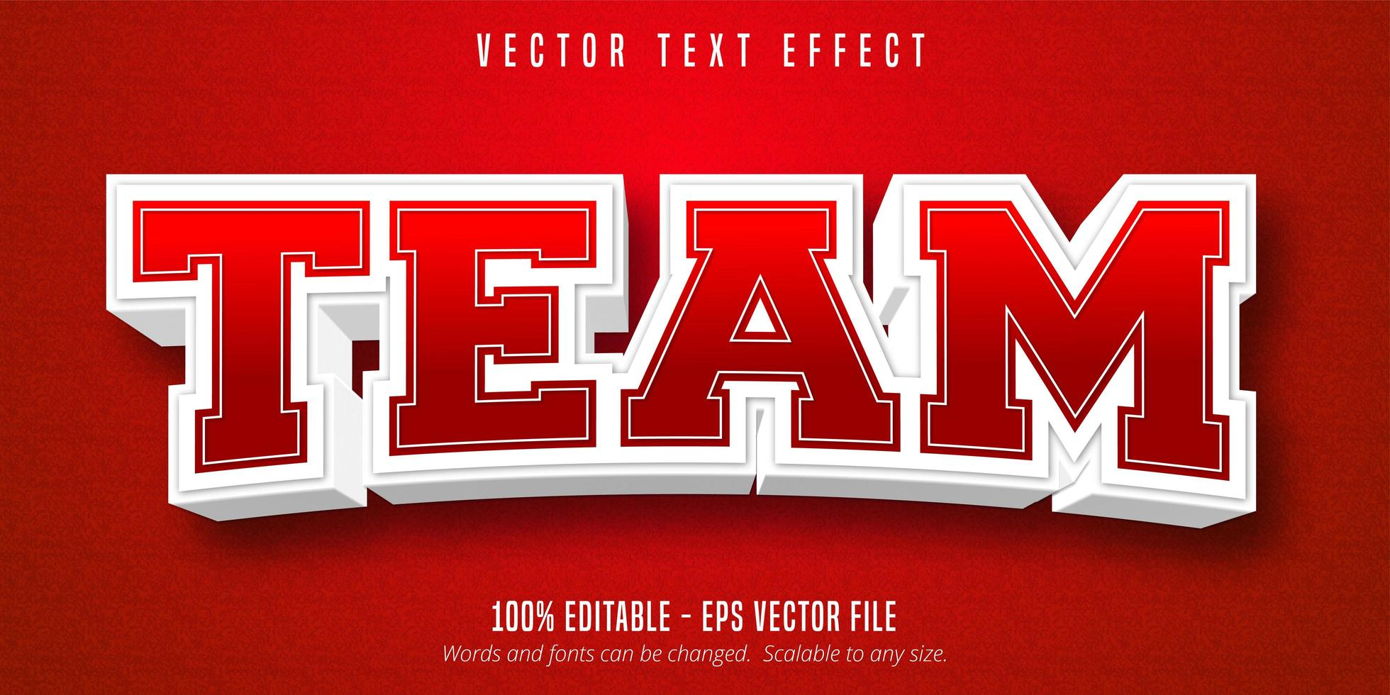 Team red and white outline sport style text effect vector