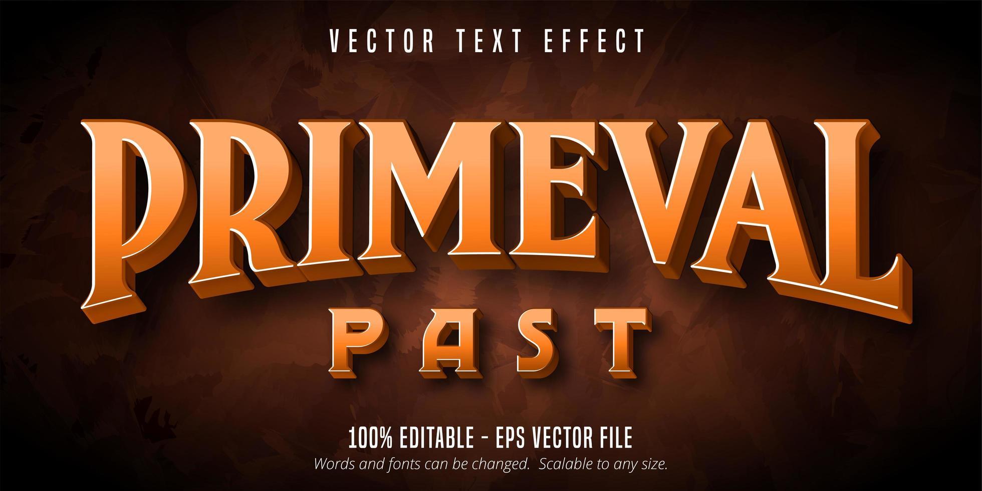 Primeval past primitive style editable text effect vector