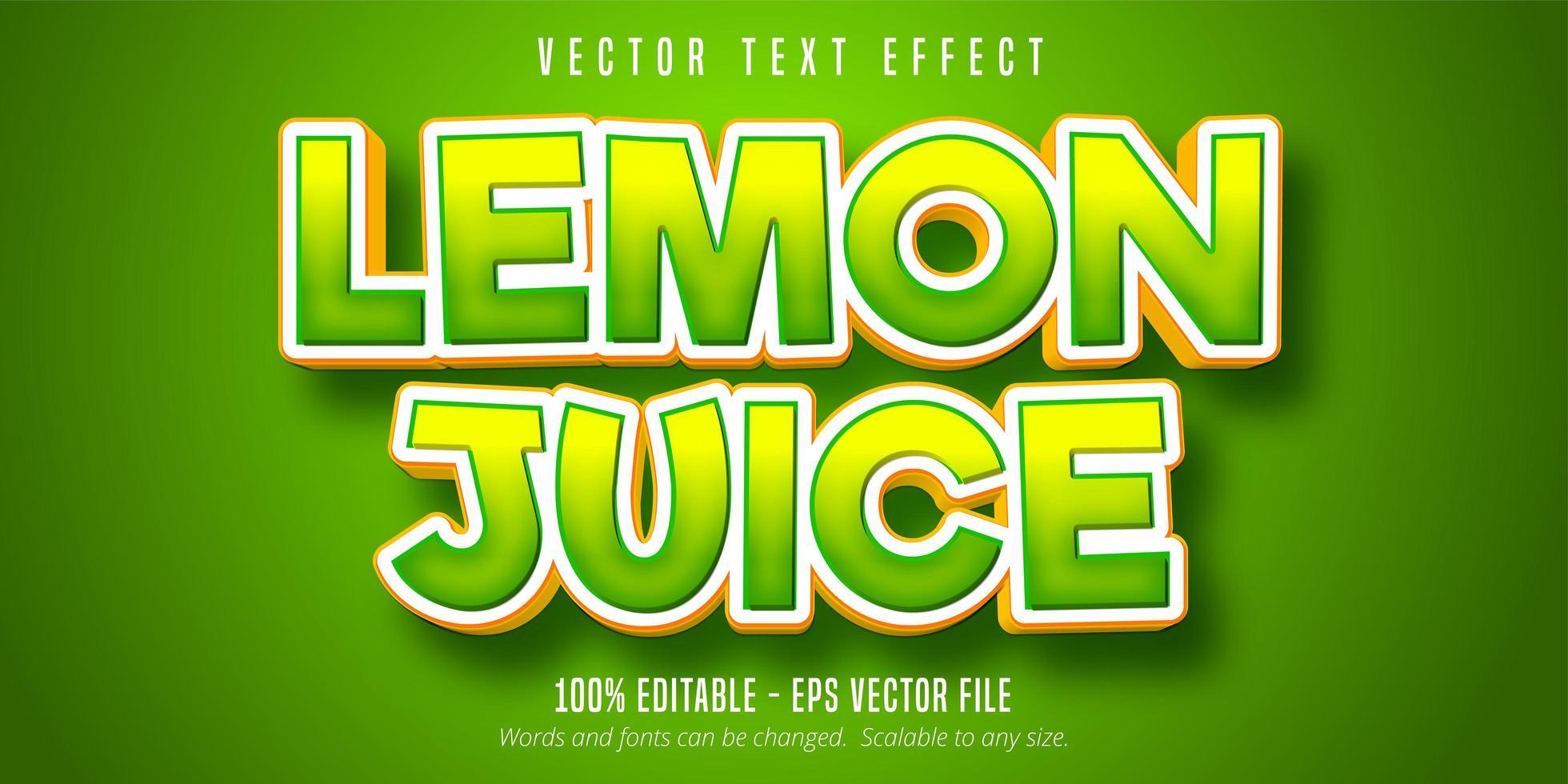 efecto de texto verde degradado de jugo de limón vector