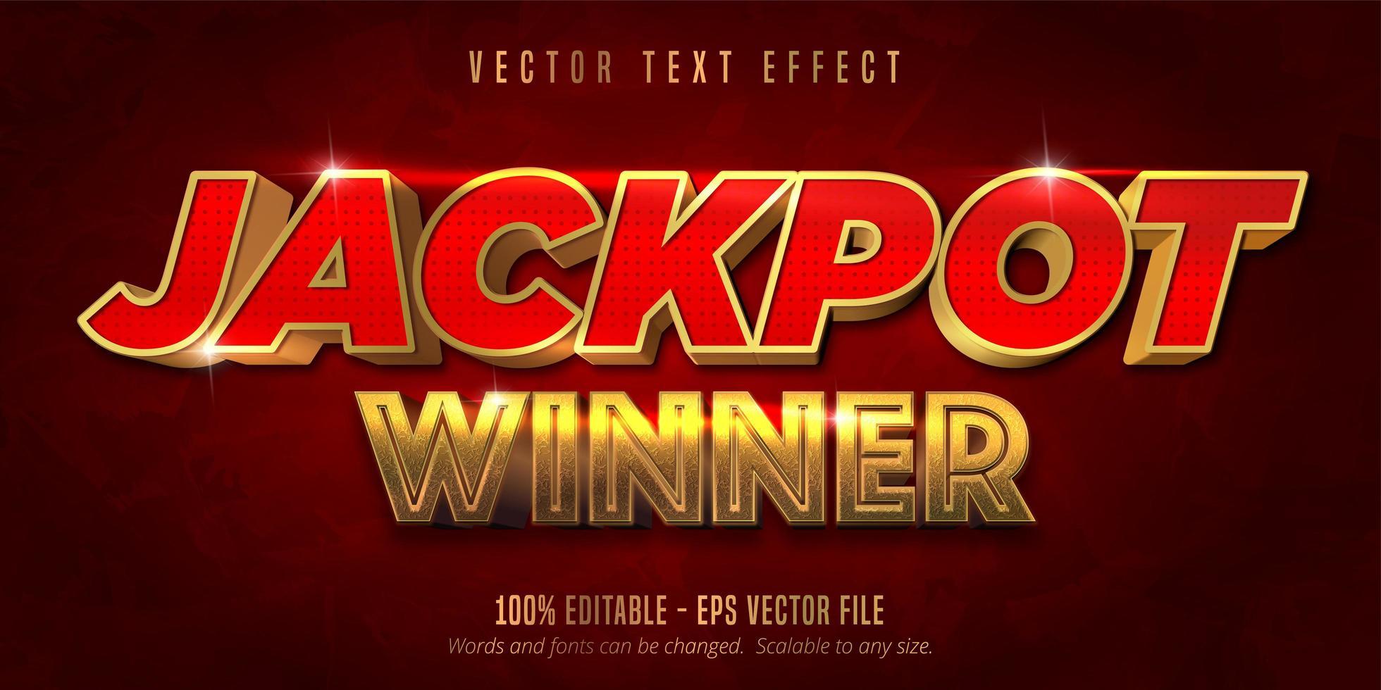 vincitore del jackpot effetto ext rosso e oro vettore
