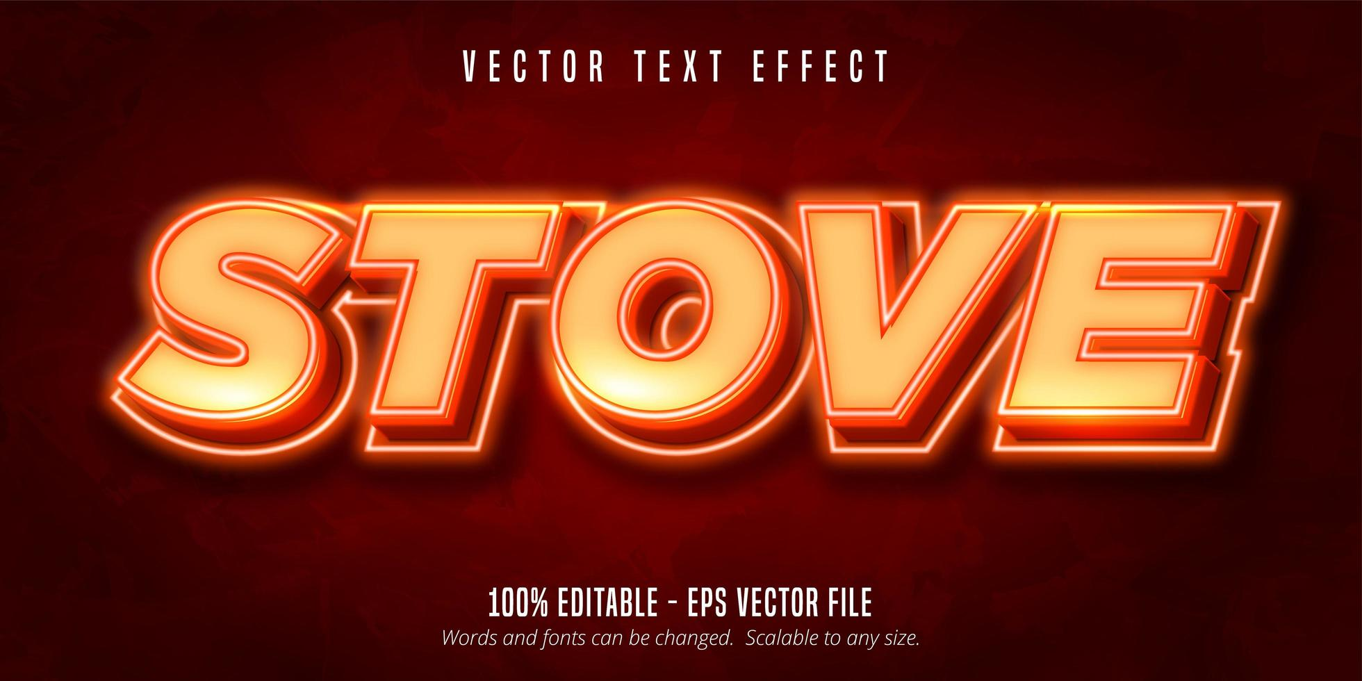 Hot stove glowing orange text effect vector