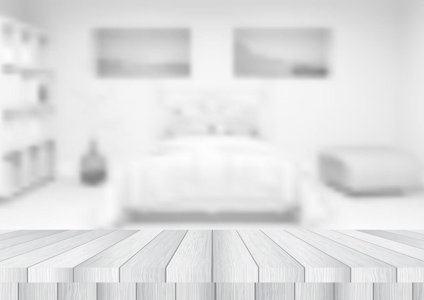 mesa de madeira com vista para um quarto de foco vetor