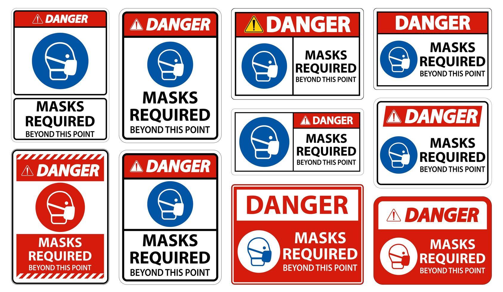 maschere di pericolo richieste oltre questo set di punti vettore