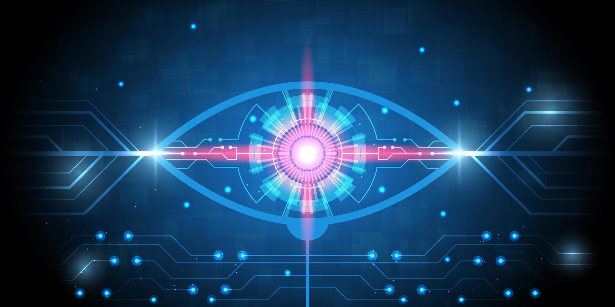 occhio hi-tech con luce rossa e motivo a circuito vettore
