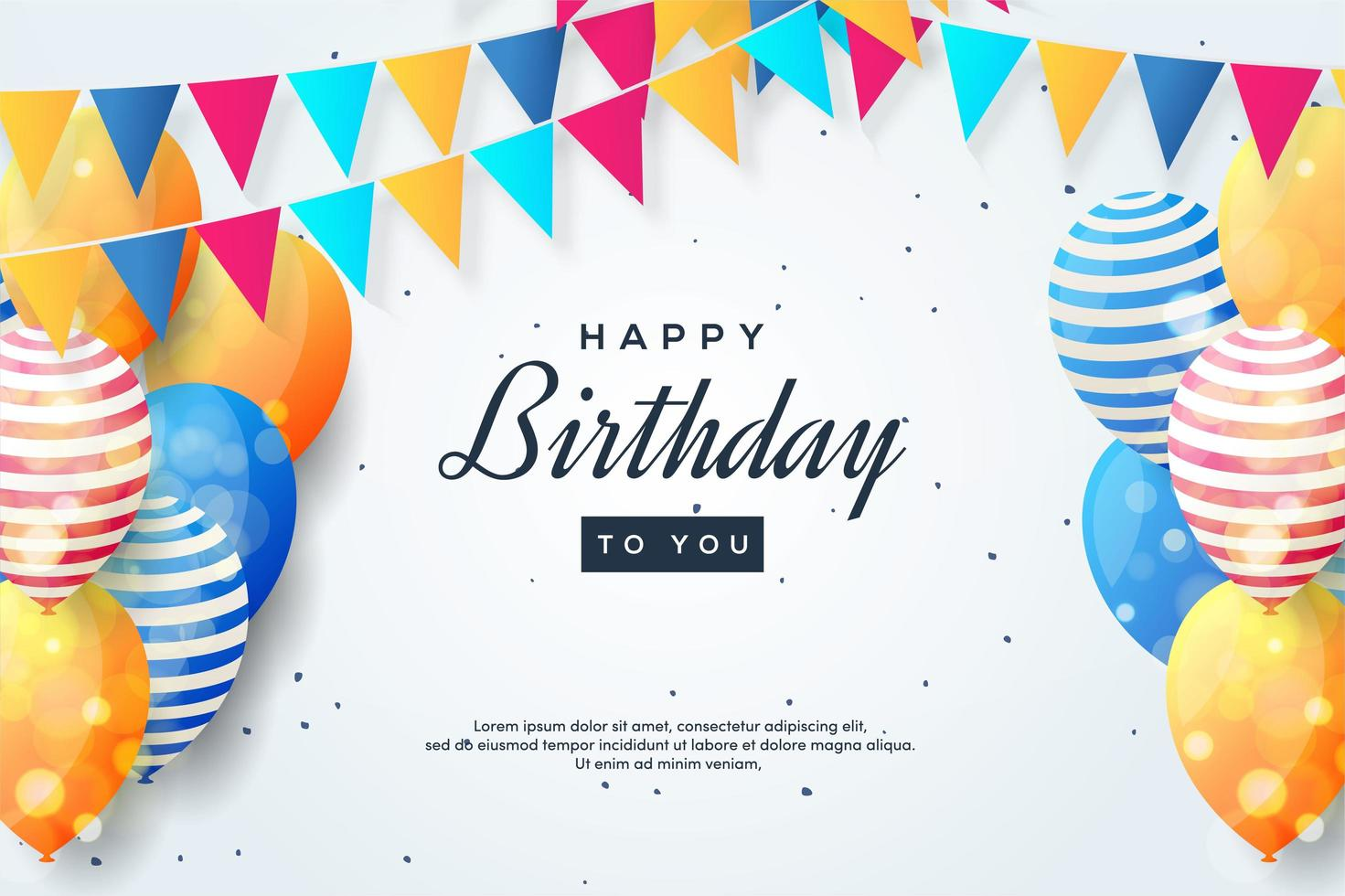 Birthday design with colorful balloons and flag garland vector