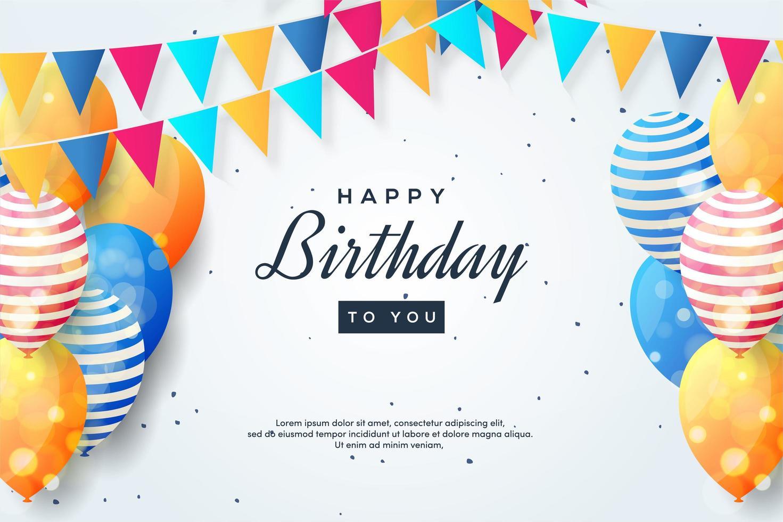 diseño de cumpleaños con globos de colores y guirnaldas de banderas vector