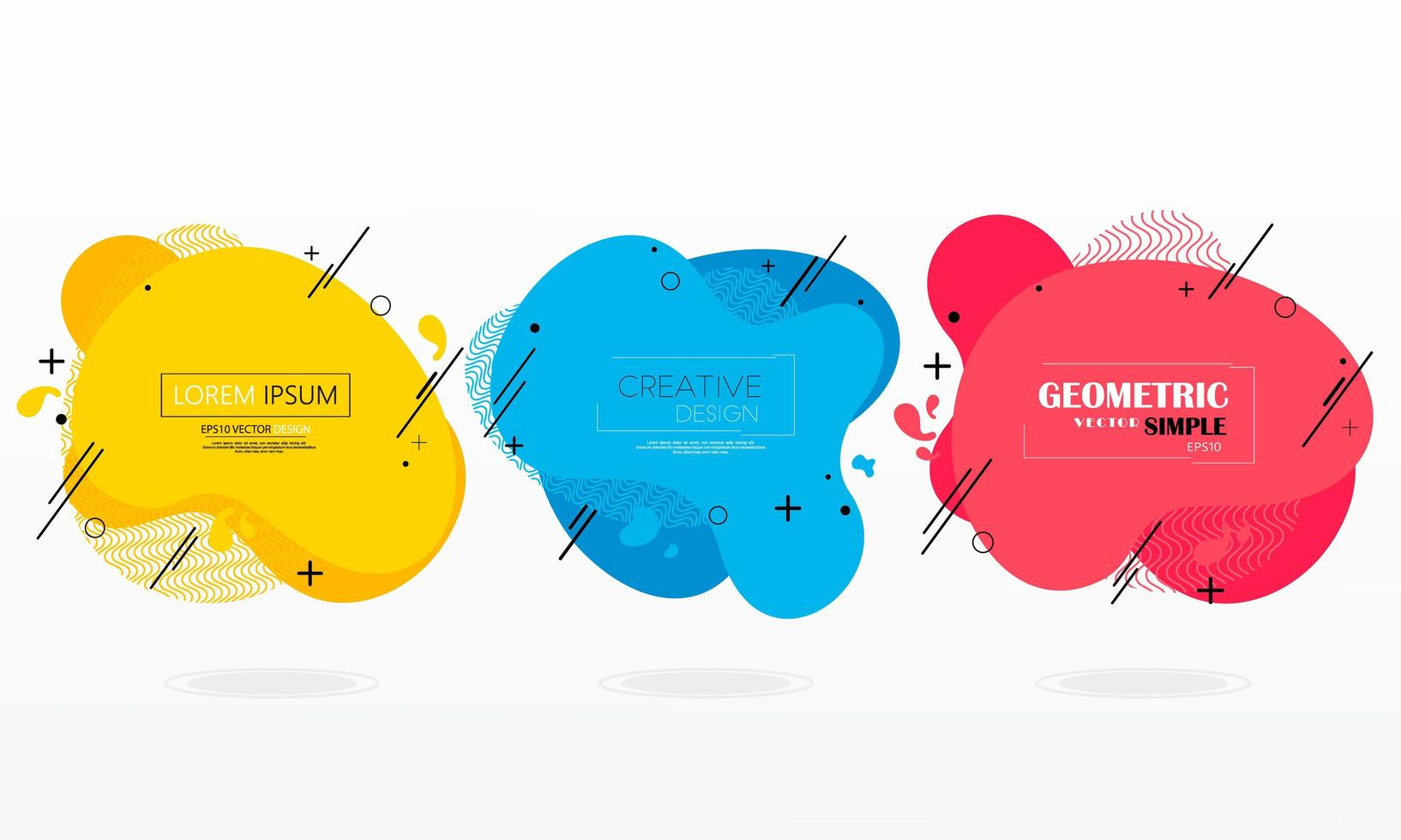 Set of colorful modern geometric liquid forms  vector