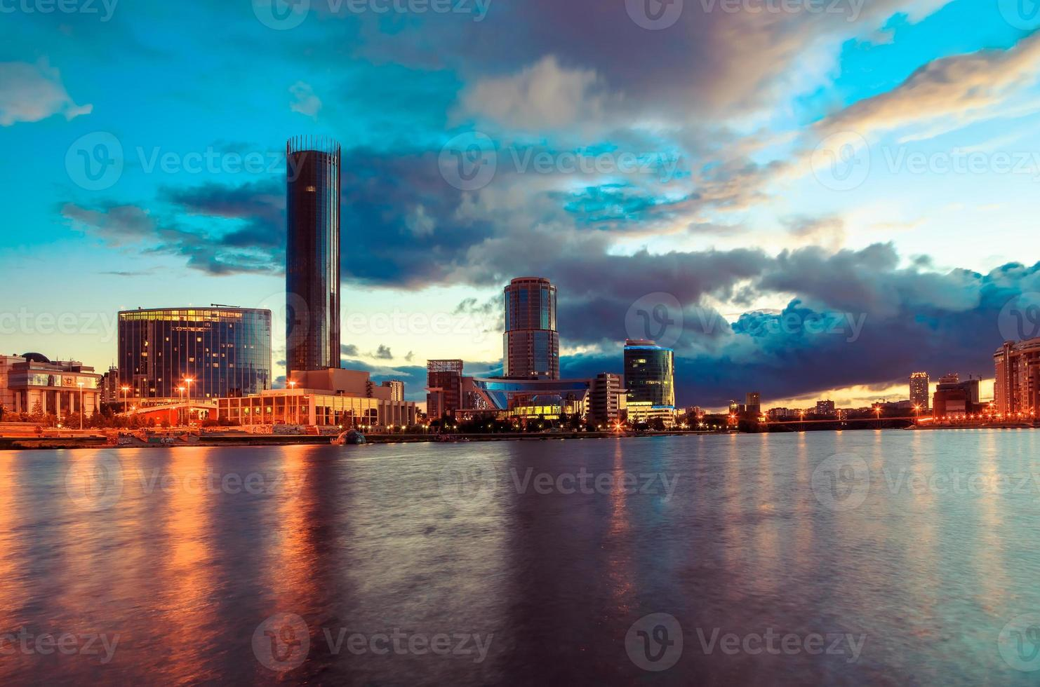 Quay of Yekaterinburg, evening, Russia photo