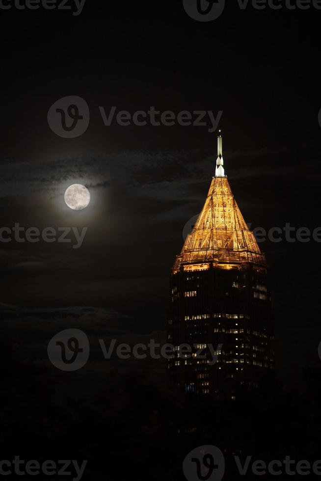 Tallest building in Atlanta Downtown under moon photo