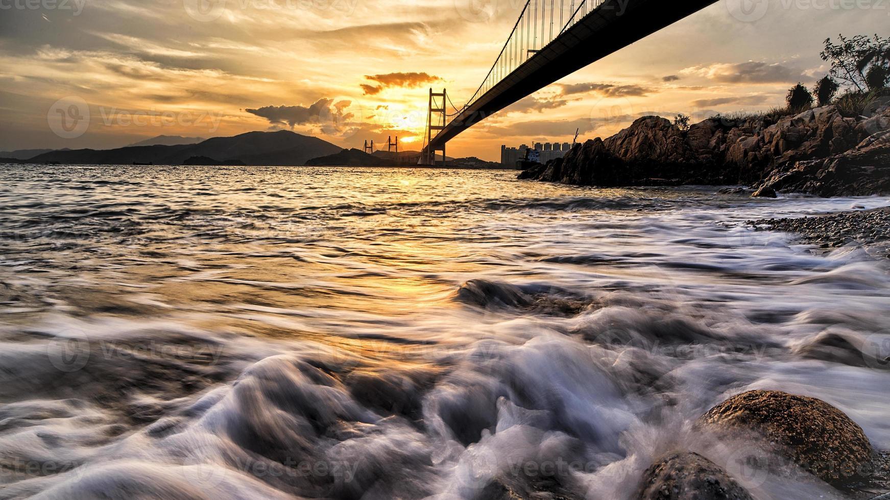 Dramatic sunset at Tsing Ma Bridge photo