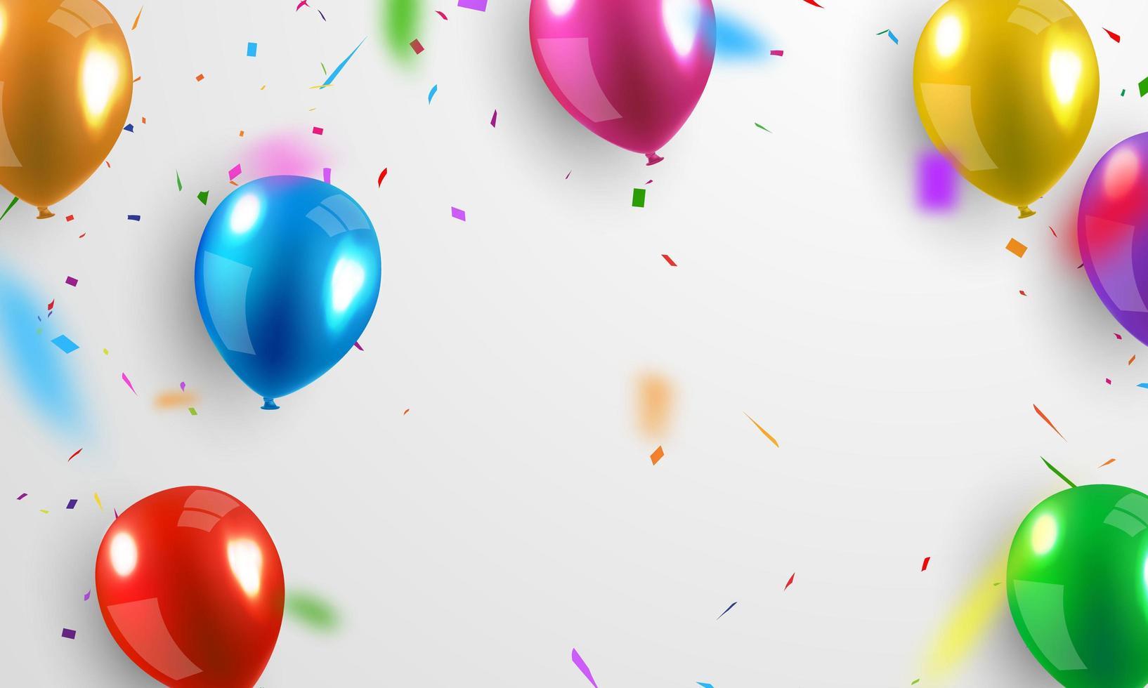 globos de colores brillantes y confeti en gris vector