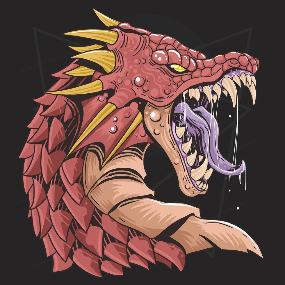 diseño rojo enojado cabeza de dragón vector
