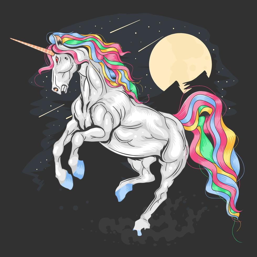 Unicorn with rainbow mane design  vector